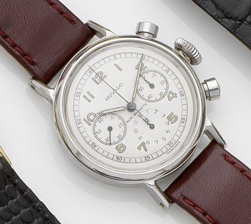 Movado. A stainless steel chronograph manual wind wristwatchCase No.101140/19018, Circa 1950