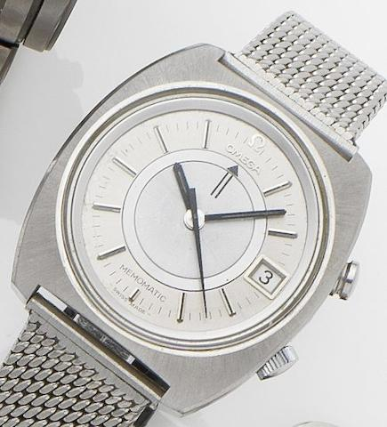 Omega. A stainless steel calendar alarm automatic bracelet watchMemomatic, Ref:166.072, Movement No.33322117, Circa 1970