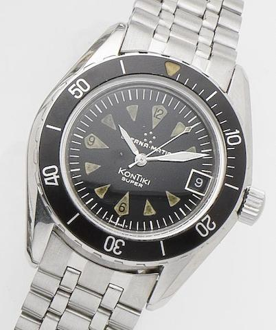 Eterna. A stainless steel calendar automatic bracelet watch Eterna-matic Kontiki Super, Case No.130FTP3, Movement No.5660909, Circa 1950's