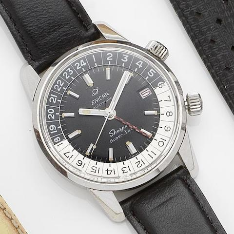 Enicar. A stainless steel dual time zone calendar automatic wristwatch Sherpa Super Jet 600, Ref:2342, Case No.1034928, Circa 1967