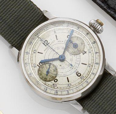 Movado. A stainless steel chronograph manual wind wristwatchCase No.0203934/1169, Movement No.64250, Circa 1935