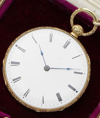Courvoisier & Company. An 18ct gold keywind open faced pocket watch with chain No.12601, Circa 1830's