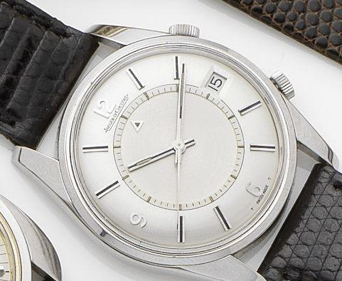 Jaeger LeCoultre. A stainless steel calendar alarm automatic wristwatch Memovox, Ref:E11005, Case No.992677, Movement No.1940763, Circa 1967