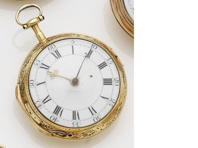 Samuel Toulmin. A late 18th century gold open faced cylinder pocket watch No.2934, London Hallmark for 1770