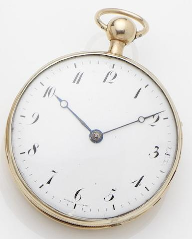 Swiss. A continental gold open face quarter repeating pocket watch No.973, Circa 1810