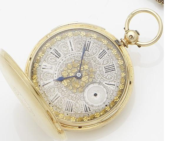 J.S.Moore & Co. An 18ct gold key wind full hunter repeating pocket watch No.7657, London Hallmark for 1874