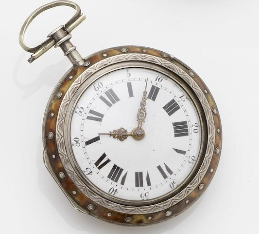 Swiss. A silver pocket watch with decorated tortoiseshell outer case No.11930, Circa 1800