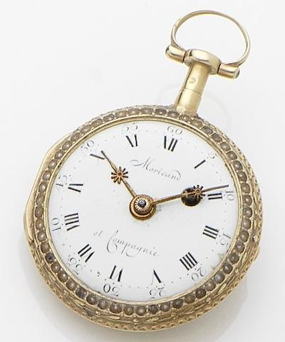 Moricand & Compagnie. A gold and enamel open face pocket watch No.4769, Circa 1800