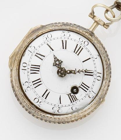 Paul Kandler. A two colour gold open face pocket watch with chatelaine  Triest, No.238, Circa 1800