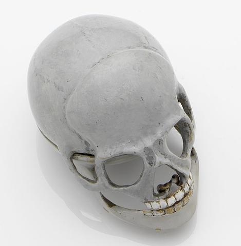 Thomas Simson. A enamel skull form momento mori watch Hertford, No.497, Circa 1815