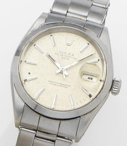 Rolex. A stainless steel calendar automatic bracelet watch Date, Ref:1500, Case No.???Movement No.D373158, Circa ??