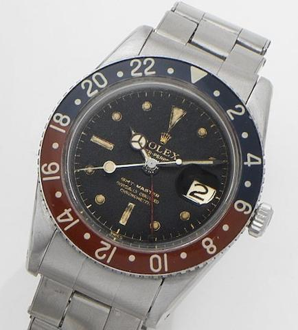 Rolex. A stainless steel dual time calendar automatic bracelet watchGMT Master, Ref:6542, Case No.262831, Movement No.DN681197,