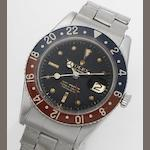 Rolex. A stainless steel dual time calendar automatic bracelet watch GMT Master, Ref:6542, Case No.262831, Movement No.DN681197,