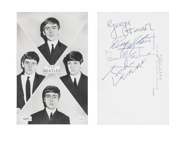 An autographed Beatles publicity postcard, 1963,