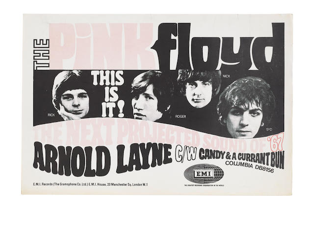 A rare E.M.I. flyer for 'Arnold Layne'/'Candy And A Currant Bun' by The Pink Floyd, 1967,