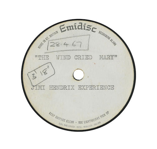 An acetate recording of 'The Wind Cries Mary' by the Jimi Hendrix Experience, 1967,
