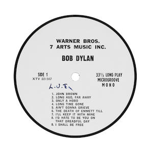 A Bob Dylan publisher's sample disc, 1960s,