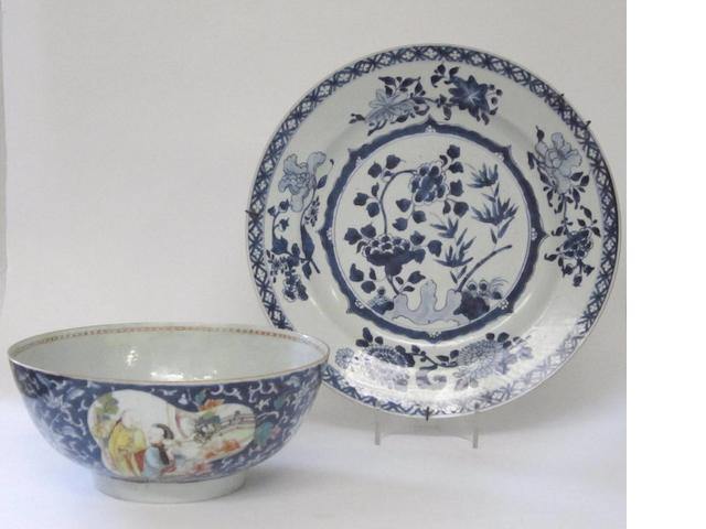 A blue and white dish, and famille rose punch bowl 19th century