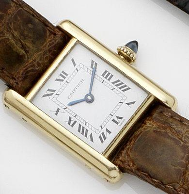 Cartier. An 18ct gold lady's manual wind wristwatchTank, Case No.780877501, Circa 1980's