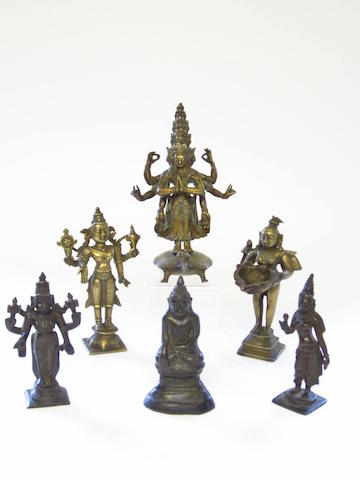 A collection of bronze figures Mostly Indian