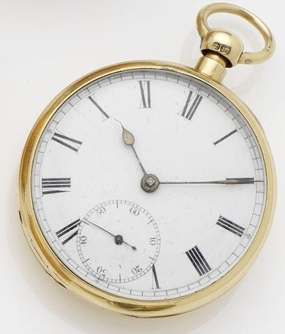 R. Roskel. An 18ct gold key wound quarter repeating open face pocket watchLiverpool, No.43377, London Hallmark for 1831