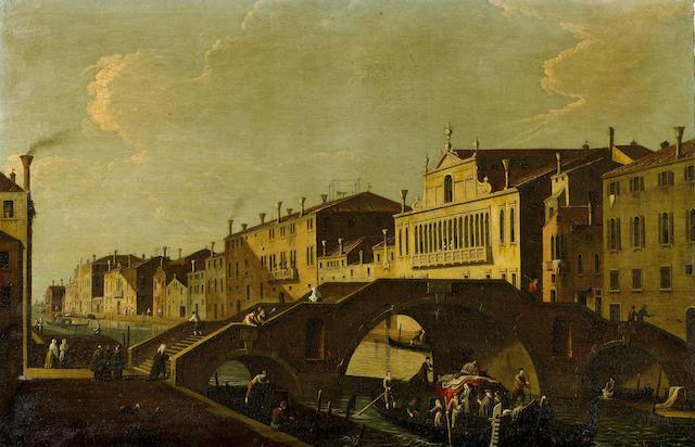 Attributed to Bernardo Canal (Venice 1674-1744) Cannaregio with the Ponte Tre Archi and Palazzo Valier, Venice unframed