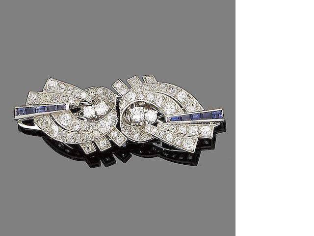 An art deco diamond and sapphire double-clip brooch,