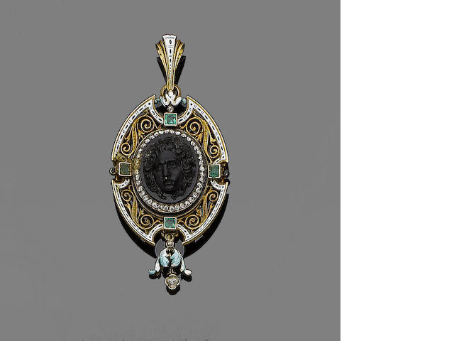 An onyx cameo, enamel, diamond and emerald pendant,