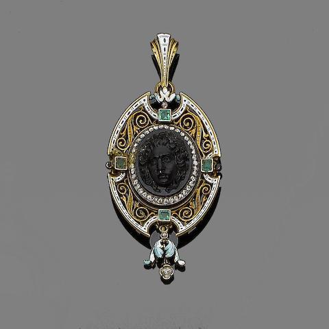 An onyx cameo, enamel, diamond and emerald pendant,