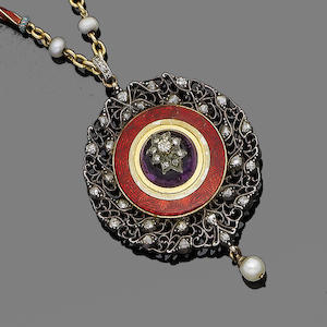 A late 19th century enamel, amethyst, pearl and diamond pendant