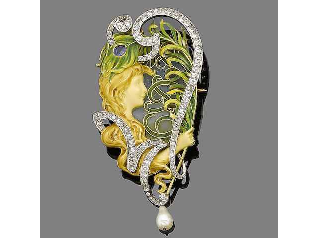 An enamel and diamond brooch