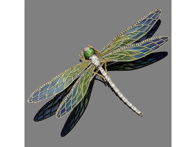 An enamel and diamond dragonfly brooch