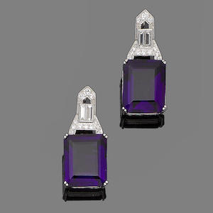 A pair of amethyst and diamond earrings