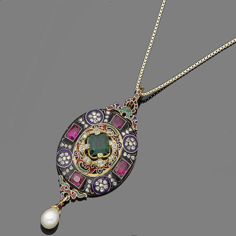 An enamel and gem-set Holbeinesque pendant,