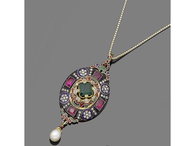 An enamel and gem-set Holbeinesque pendant,