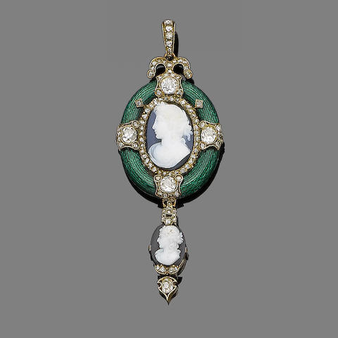 An enamel, diamond and hardstone cameo pendant,