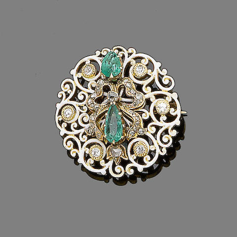 An enamel, emerald and diamond brooch/pendant,
