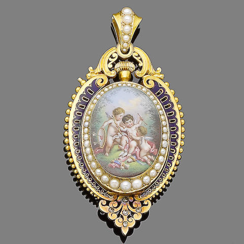 A 19th century gold pendant watch,
