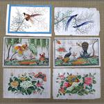 Six unframed rice paper paintings and two framed Late 19th/early 20th century