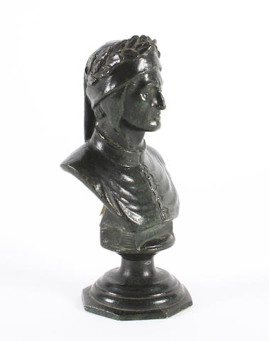 A verdigns bronze bust of Dante