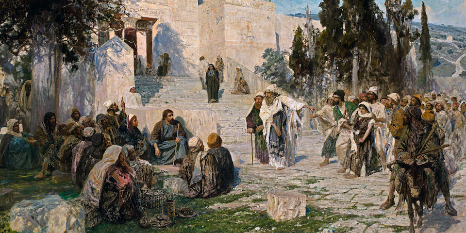 Vasilii Dmitrievich Polenov (Russian, 1844-1927) 'He that is without sin', 1908