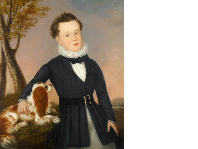American School, early 19th Century A three quarter length portrait of a boy in a blue coat and white ruff standing in a landscape with his spaniel by his side