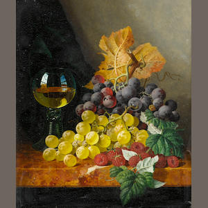 Edward Ladell (British, 1821-1886) Still life with fruit and a glass on a marble ledge