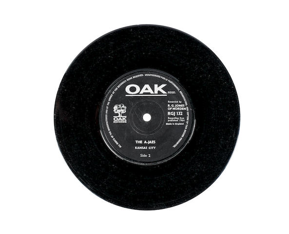 A copy of the rare single by The A-Jaes, 'I'm Leaving You'/'Kansas City',