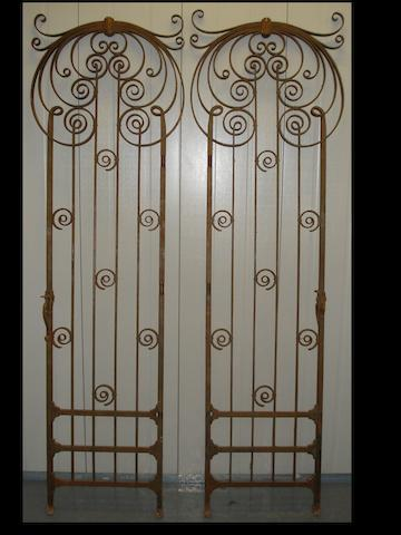 Seven wrought iron gates in the Art Nouveau style