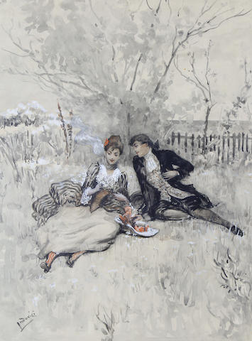 Albert Ludovici, Jnr., RBA (British, 1852-1932) The picnic; The suitor (a pair) each 41 x 30.5cm (16 1/8 x 12in). (2)