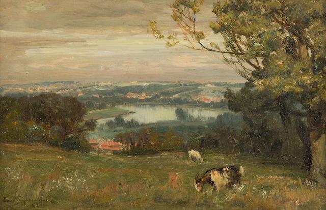 David Farquharson, ARA ARSA RSW ROI (British, 1840-1907) A view over the Tay 21 x 31 cm. (8 1/4 x 12 3/16 in.)