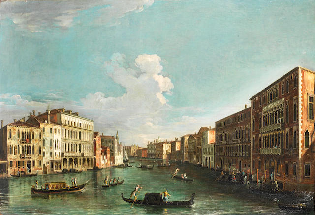 Apollonio Domenichini, alternatively identified as the Master of the Langmatt Foundation (active Venice circa 1740-1760) The Grand Canal, Venice, looking towards the Punta della Dogana; and   (2)