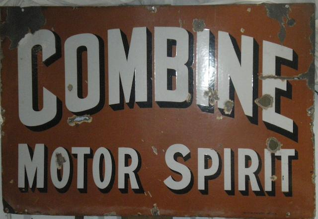 A rare 'Combine Motor Spirit' enamel advertising sign,
