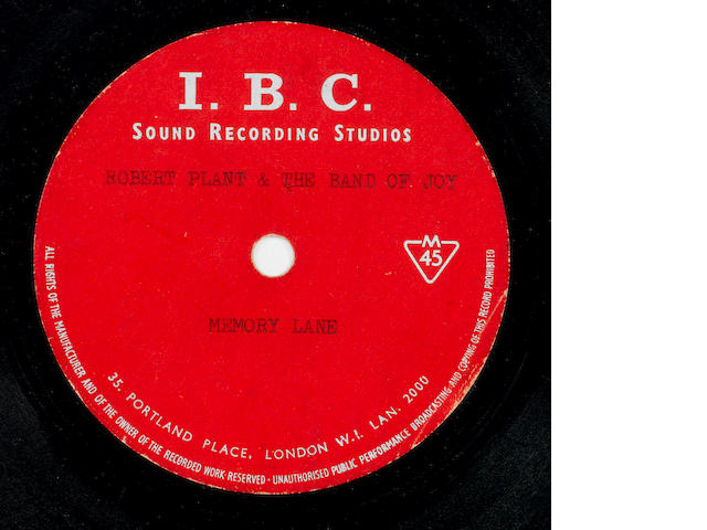 A very rare acetate recording of 'Memory Lane' by Robert Plant & The Band Of Joy, 1967/1968,